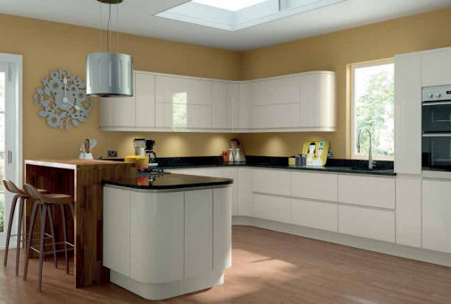 Lacarre Gloss Cream Handleless Kitchen Doors