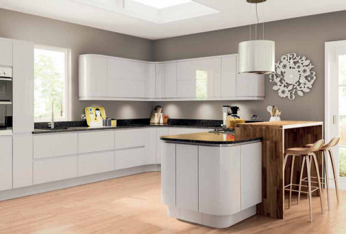 Lacarre Gloss Light Grey Handleless Kitchen Doors